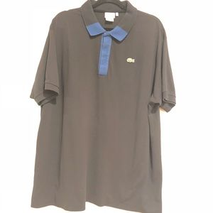 Lacoste mens polo shirt black and blue size 9r